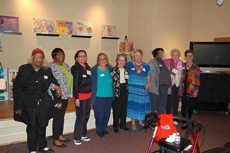 ARTISTS FROM THE ALEXANDRIA ADULT DAY SERVICES CENTER WITH STAFF MEMBER JACKIE MCCORD AND AFTA TEACHING ARTIST CAROL SIEGEL